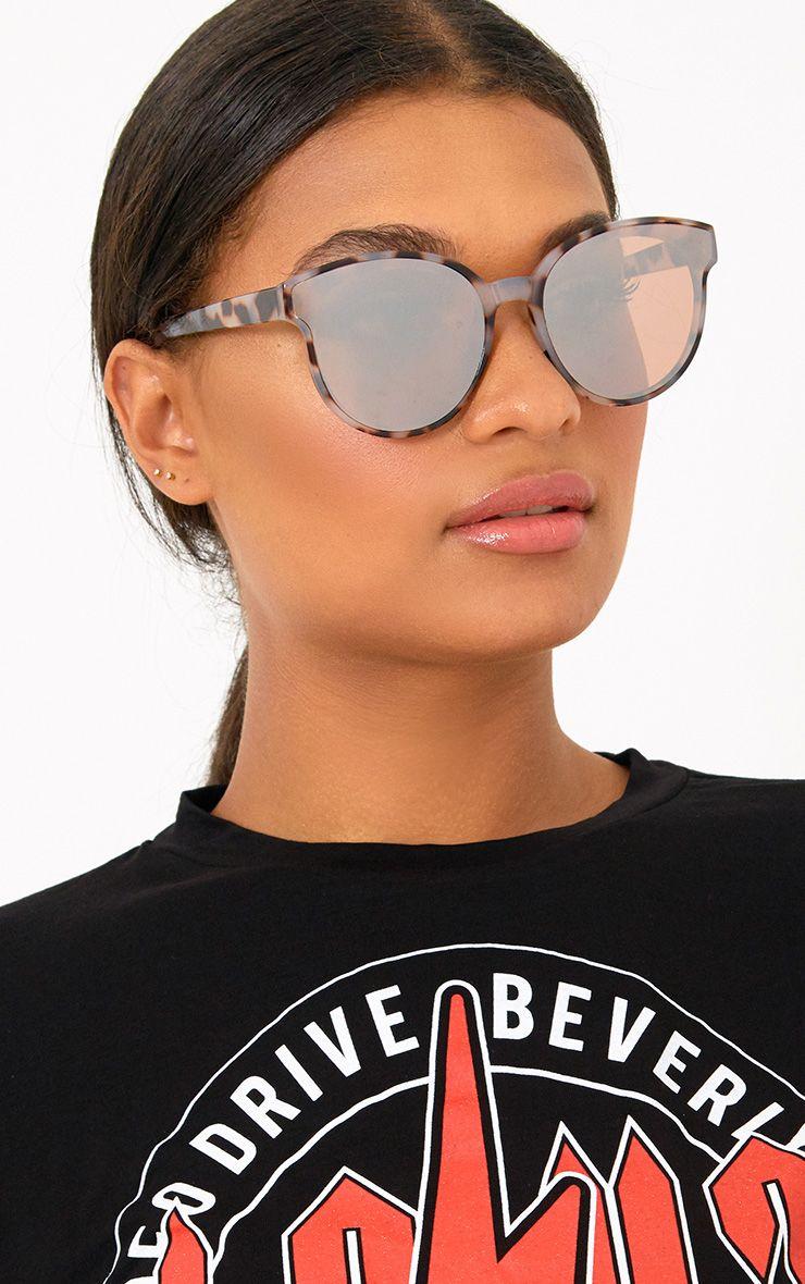 Tortoise Frame Mirror Lens Sunglasses