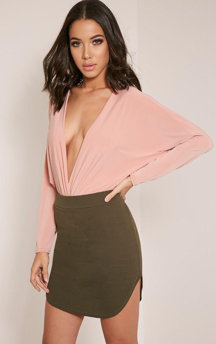Aleshia Khaki Crepe Curved Hem Mini Skirt 1