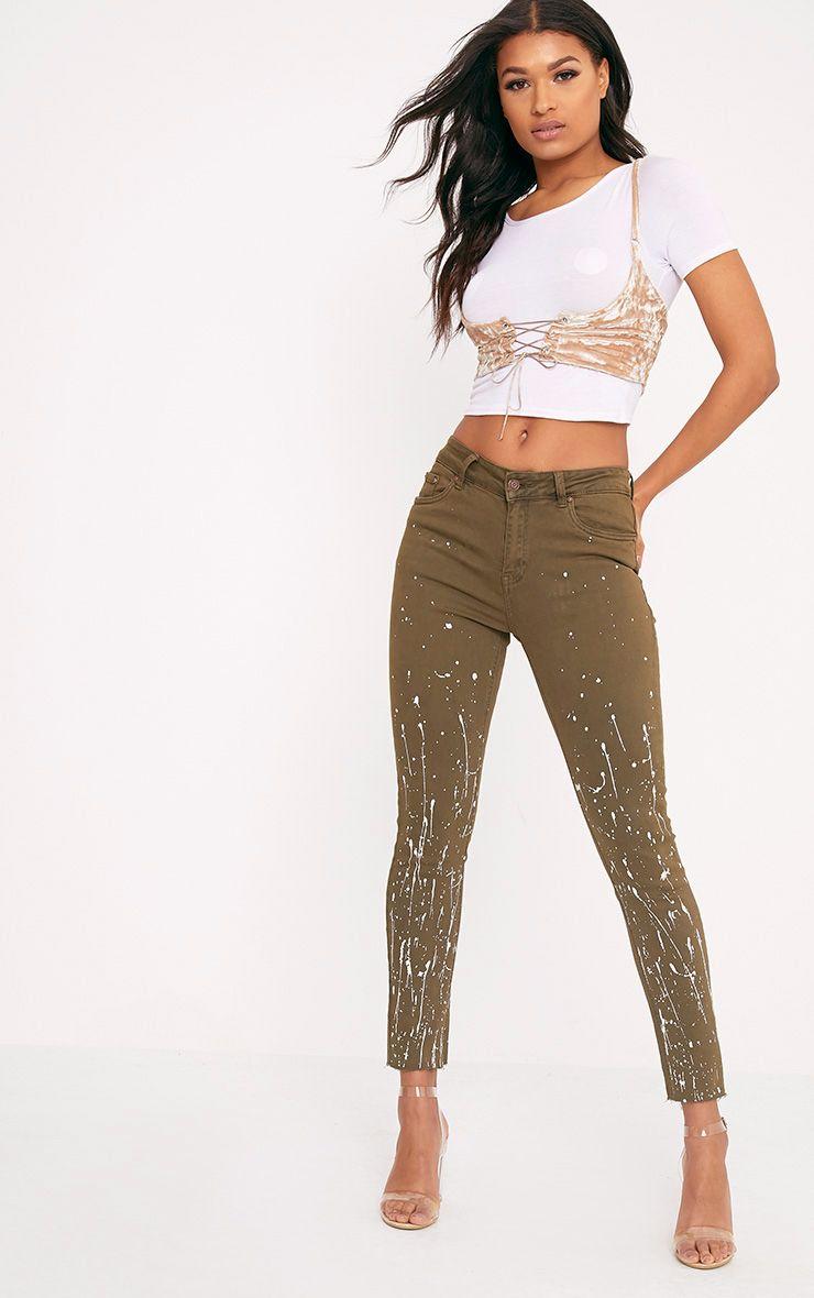 Fion Khaki Bleach Splatter Skinny Jean
