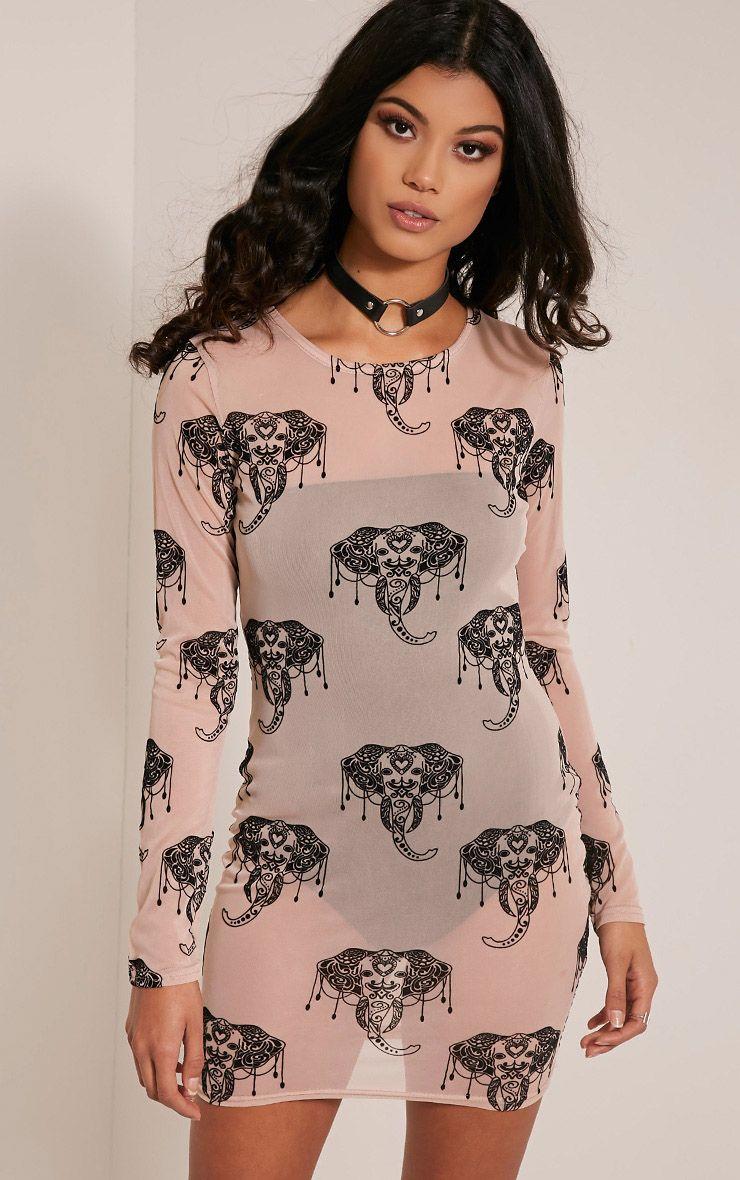 Nicole Nude Elephant Print Mesh Bodycon Dress 1