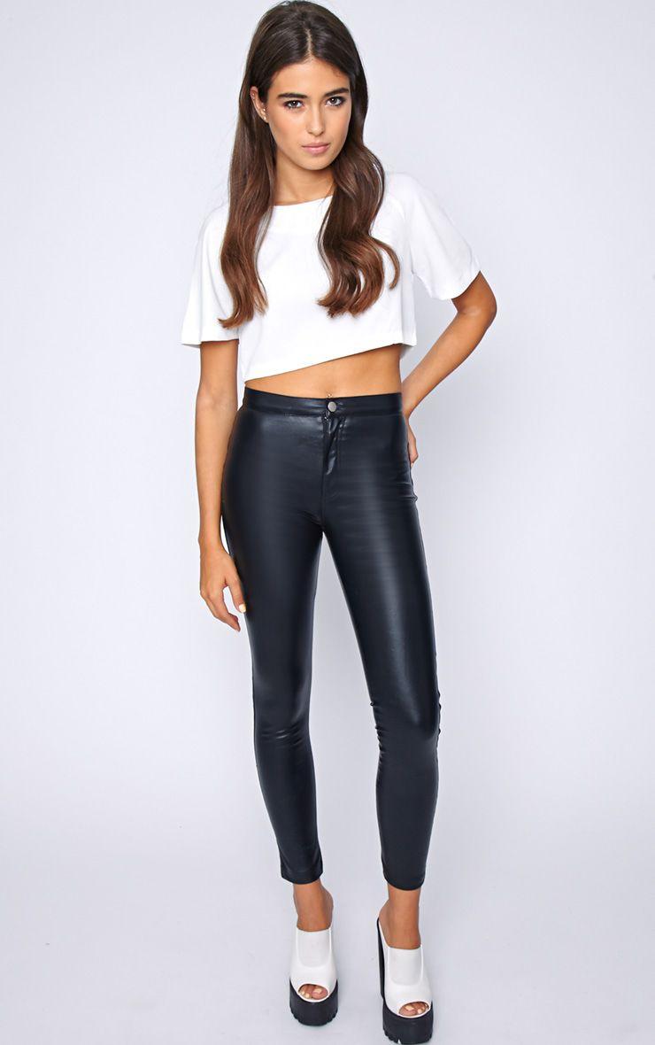 Lina Black Skinny Leather Trouser-6 1