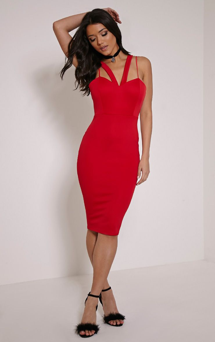 Anthea Red Double Strap Scuba Dress 1