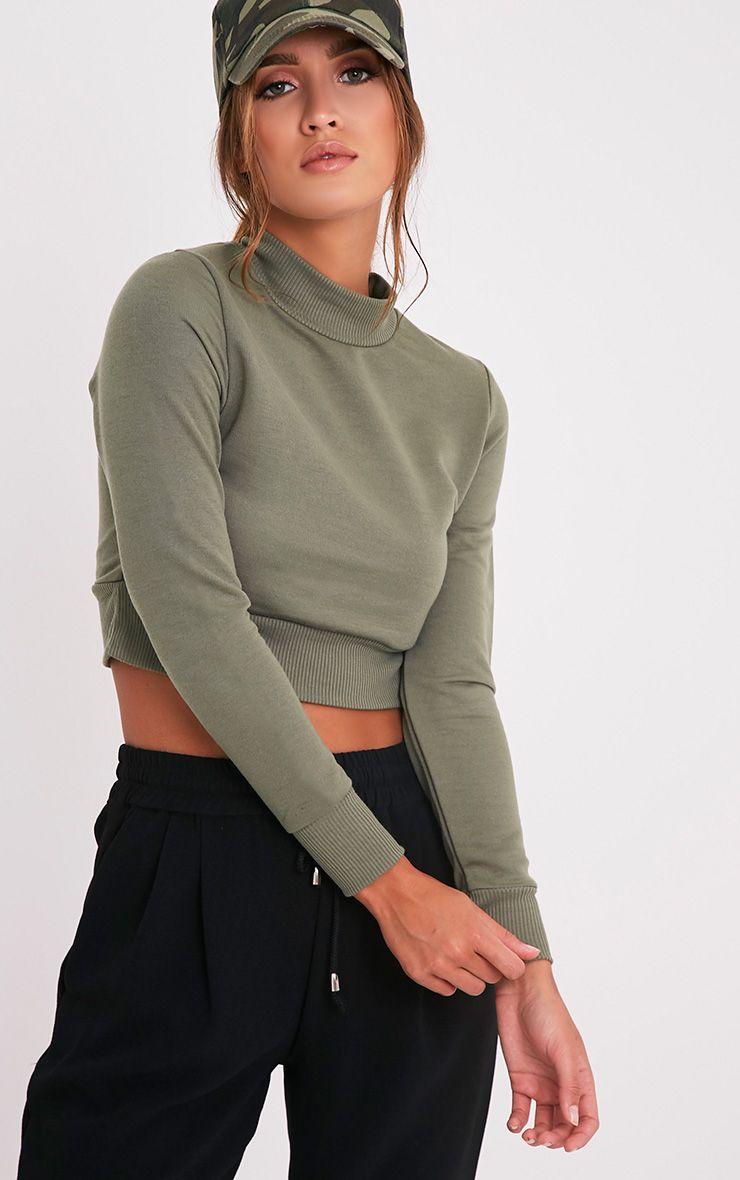 Emiliana Olive Crop Sweatshirt 1