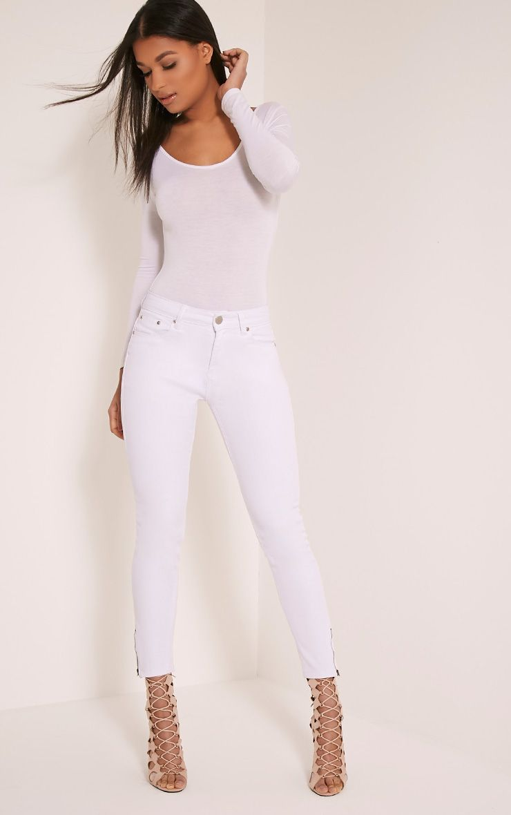 WHITE HIGH WAISTED 5 POCKET ANKLE GRAZER SKINNY JEAN
