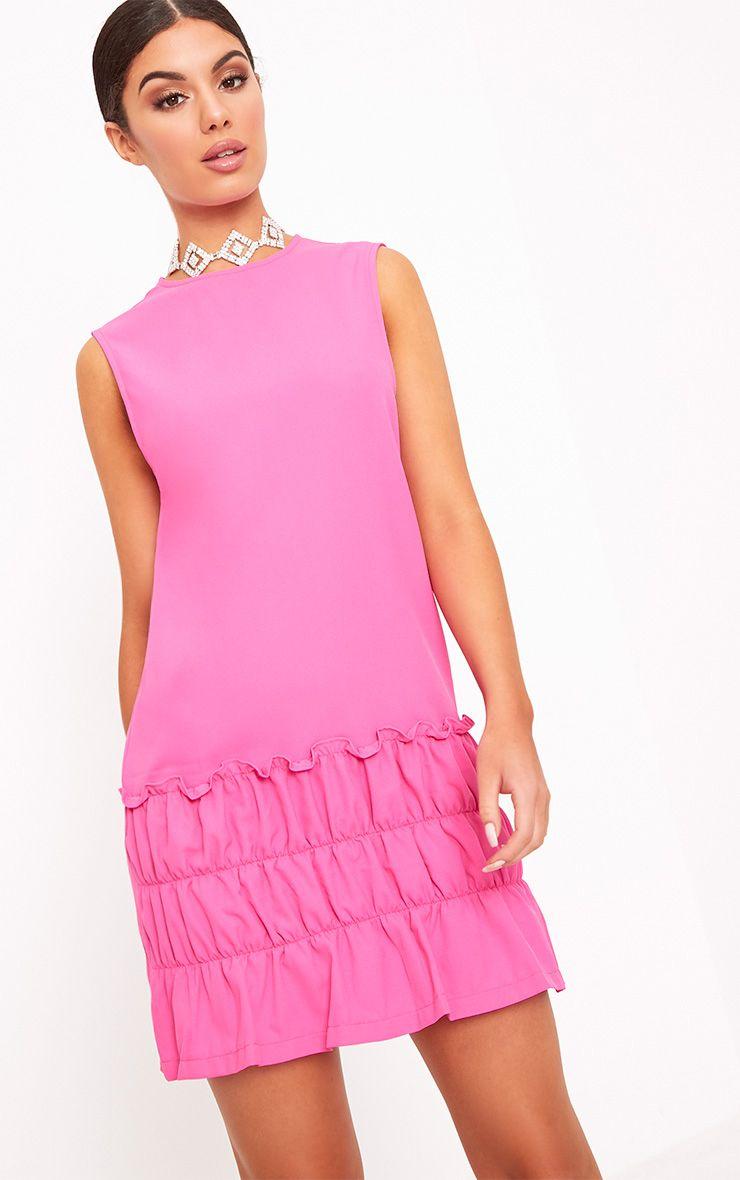 Salinda Fuchsia Sleeveless Ruffle Detail Shift Dress