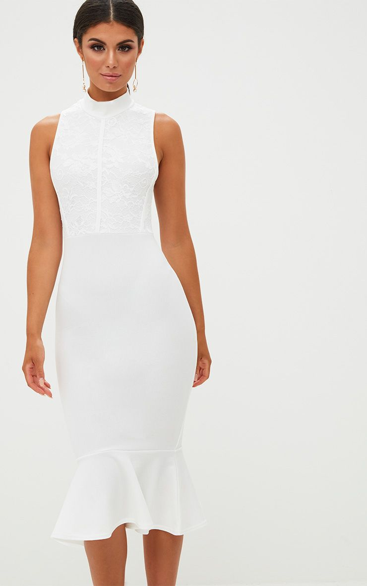 White Lace Detail Fishtail Midi Dress
