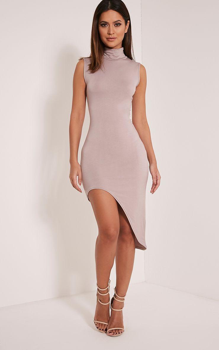 Pennie Taupe Curved Hem Sleeveless Midi Dress 1