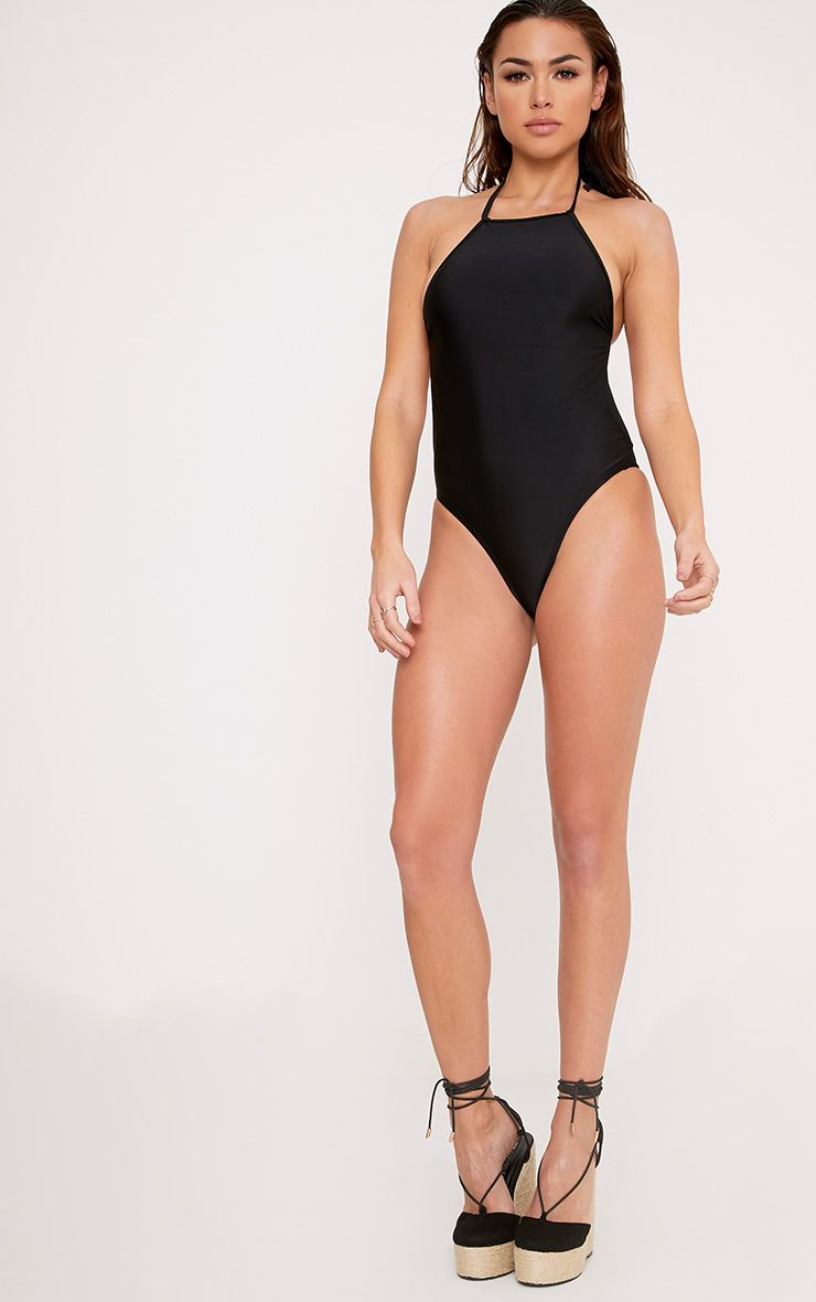 Tinisha Black Basic 90's Neck Swimsuit