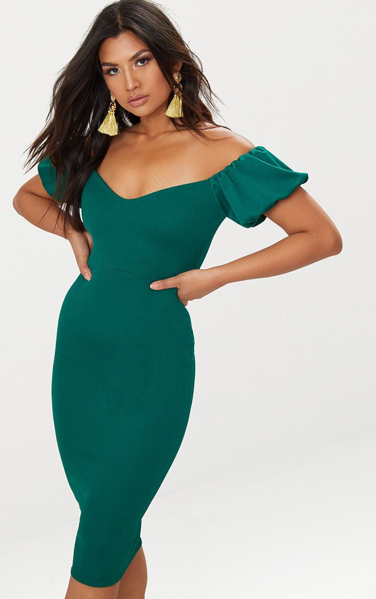 Emerald Green Balloon Sleeve Bardot Midi Dress