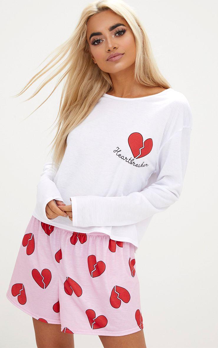White Heartbreaker Long Sleeve T Shirt PJ Set
