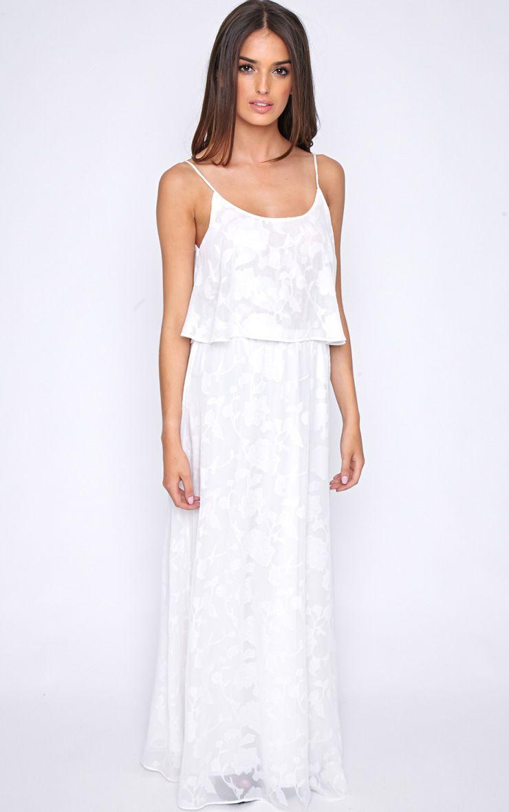 Cosima White Frill Front Maxi Dress 1
