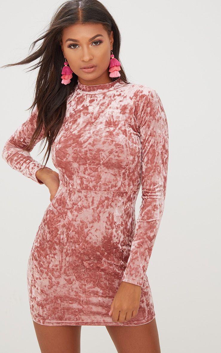 Rose High Neck Velvet Bodycon Dress