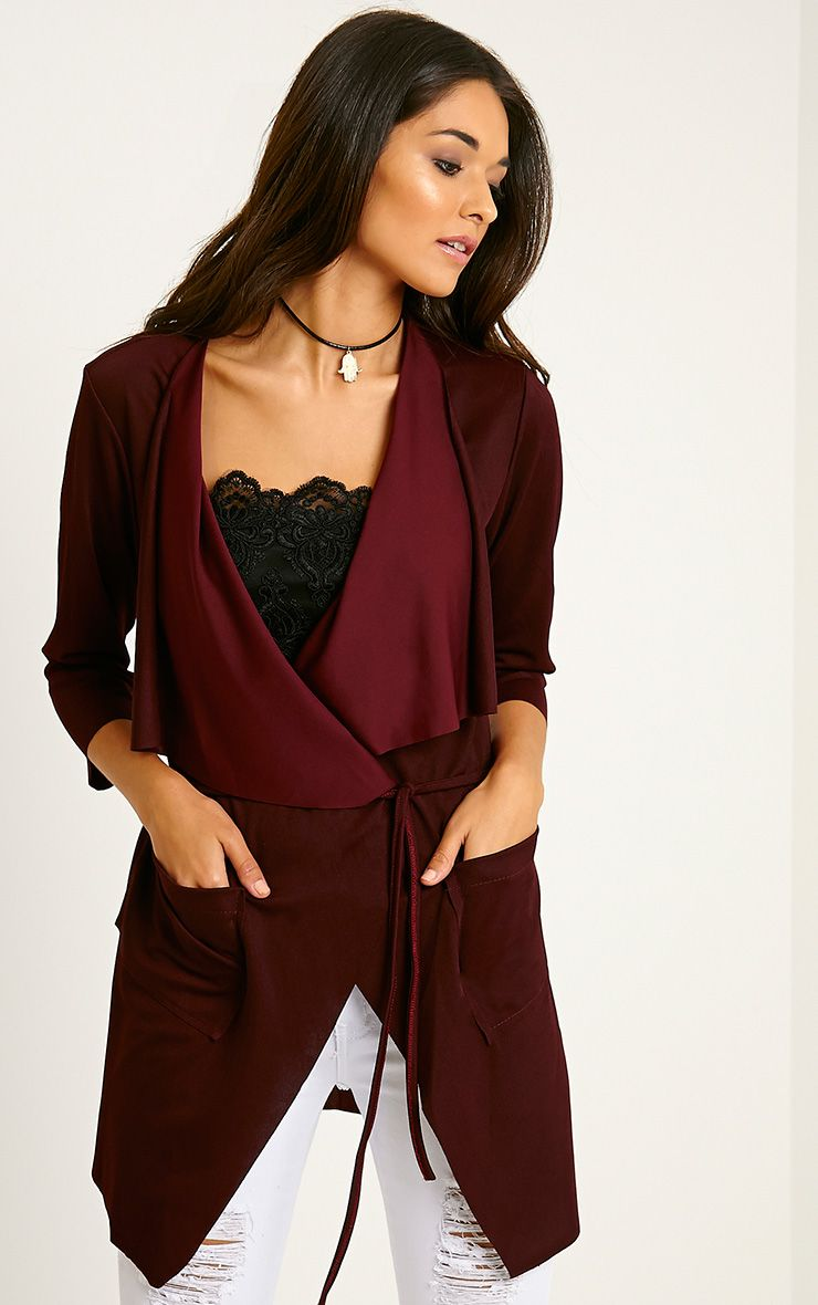 Siran Burgundy Belted Jacket 1
