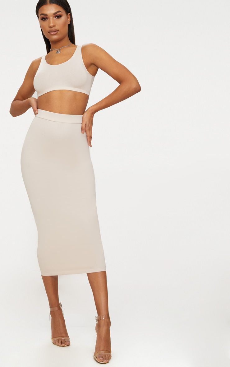 Cream Second Skin Bodycon Midaxi Skirt