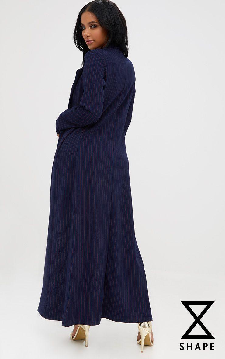 Product photo of Shape navy red pinstripe longline jacket blue