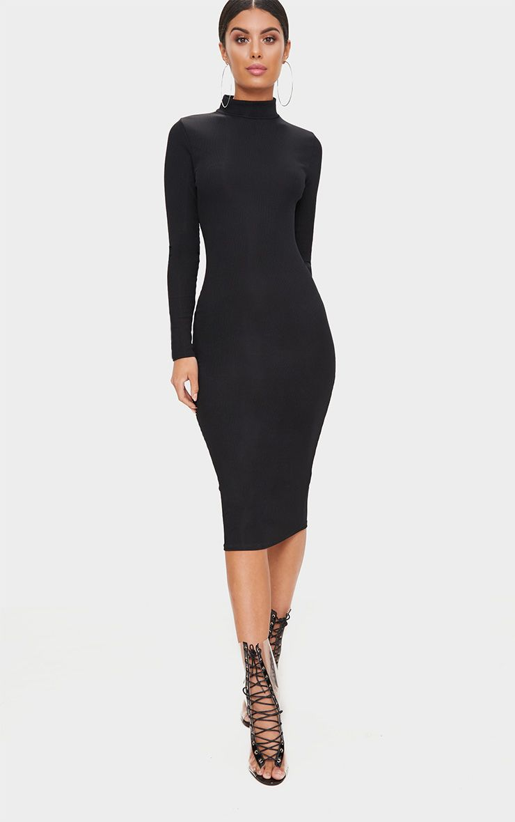 Black Ribbed Long Sleeve Midi Dress