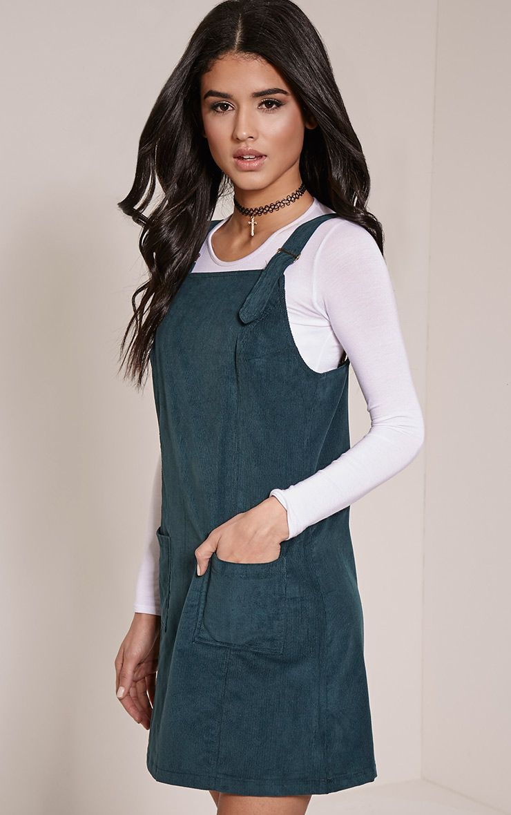 Maxine Bottle Green Cord Pinafore Dress 1