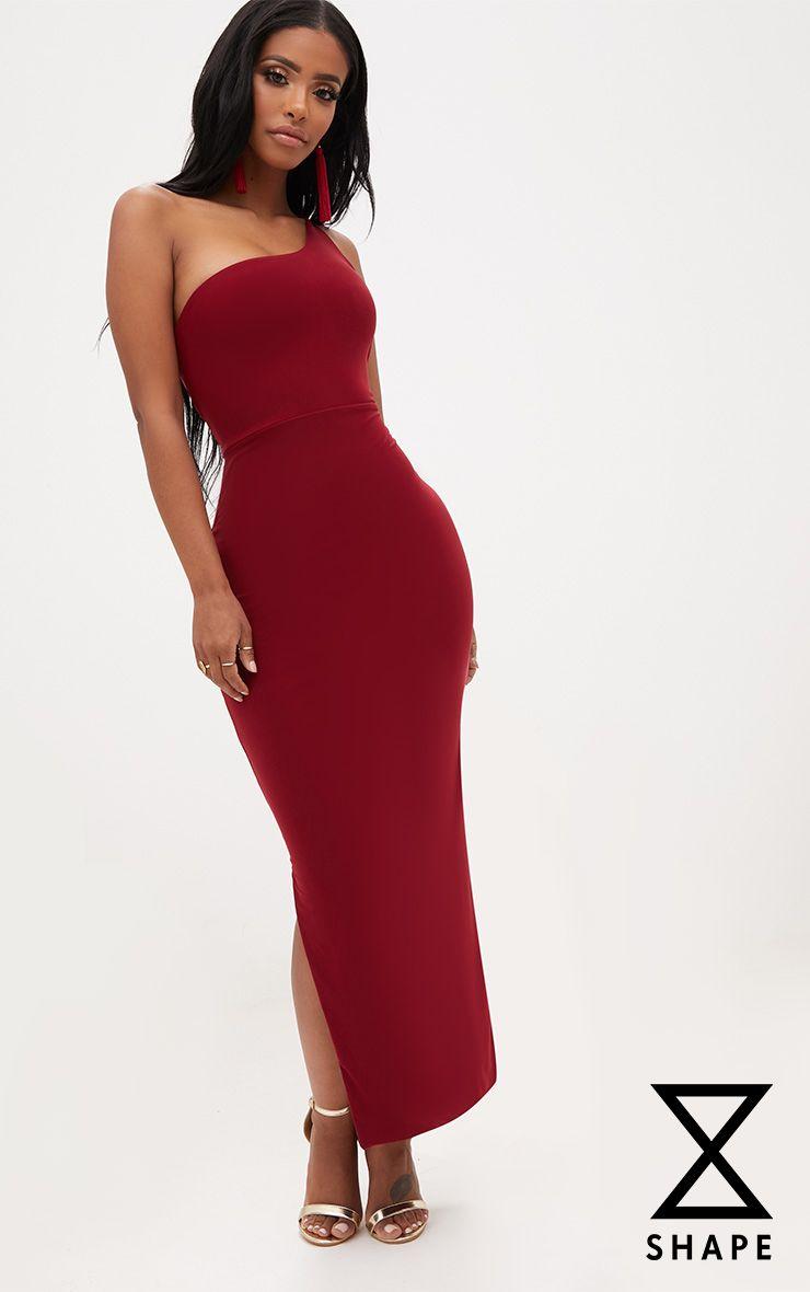 Shape Burgundy One Shoulder Midaxi Dress