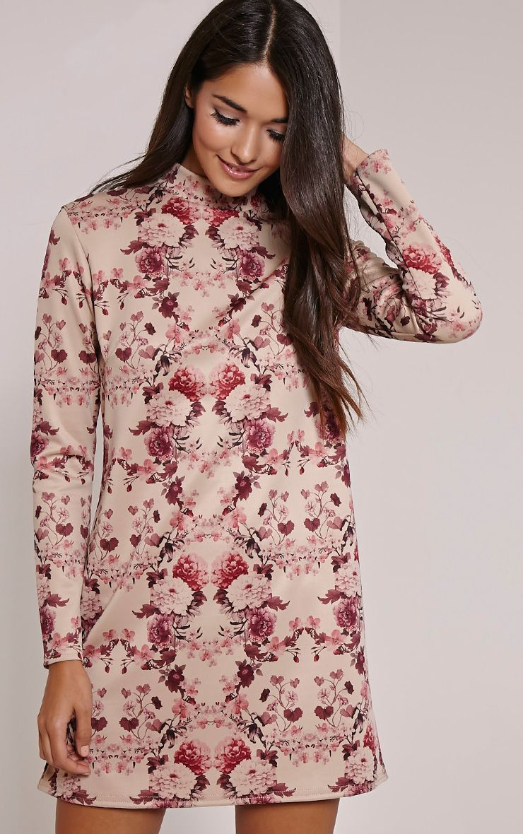 Lanie Burgundy Floral Print A-Line Dress 1