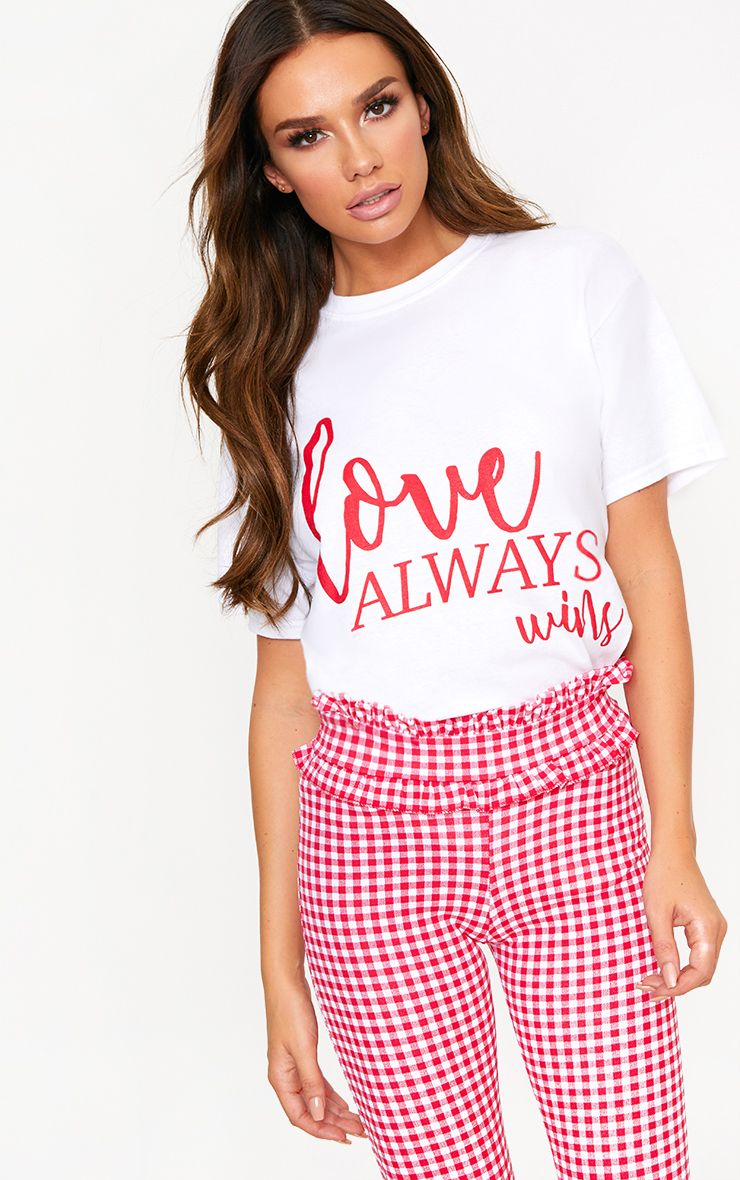 Love Always Wins Slogan White T Shirt