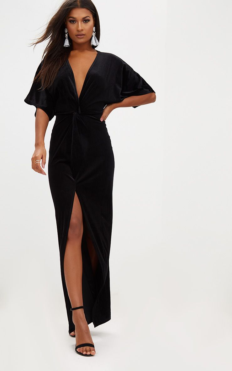 Black Velvet Kimono Sleeve Maxi Dress