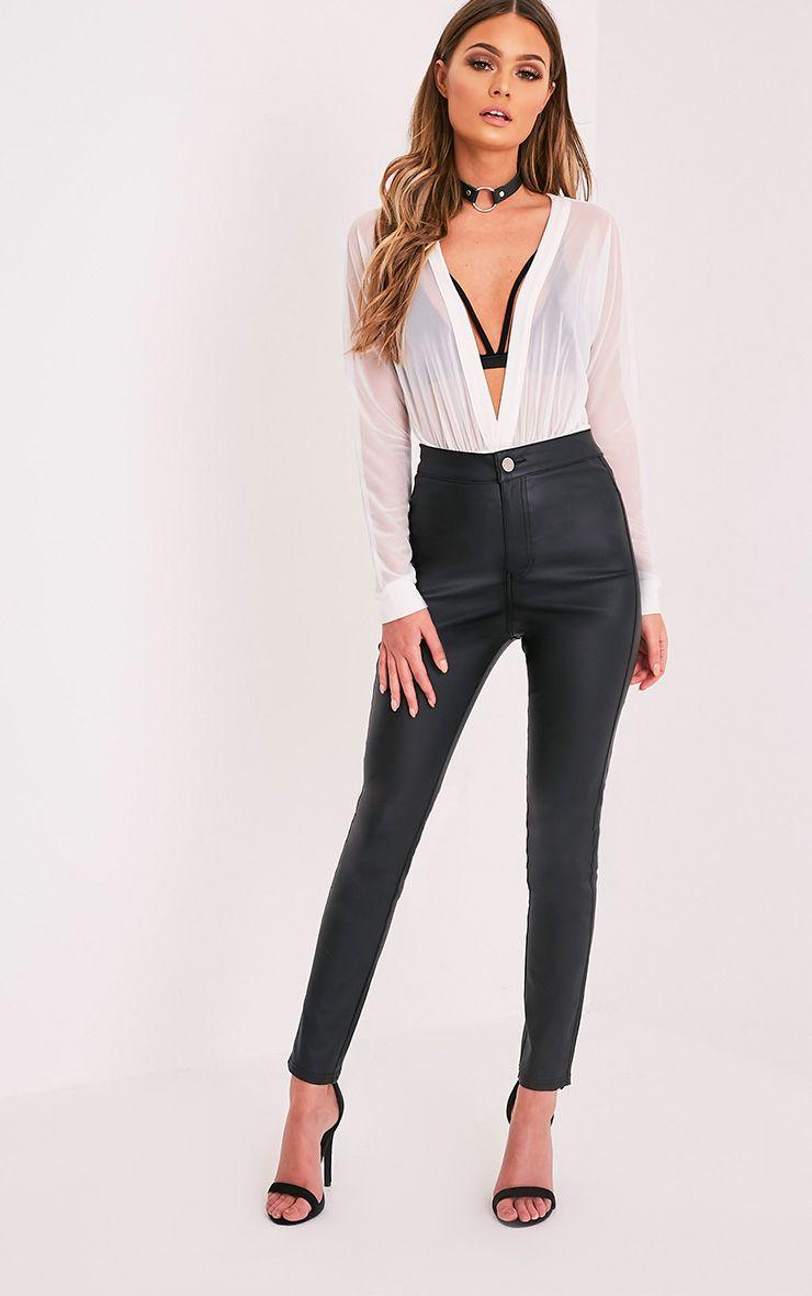 Tyris pantalon skinny enduit effet cuir noir