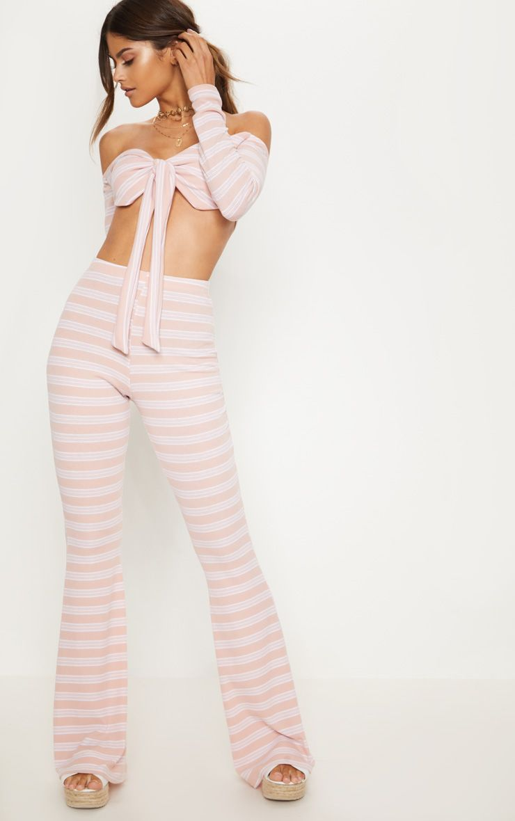 Pale Pink Ribbed Stripe Flare Trouser