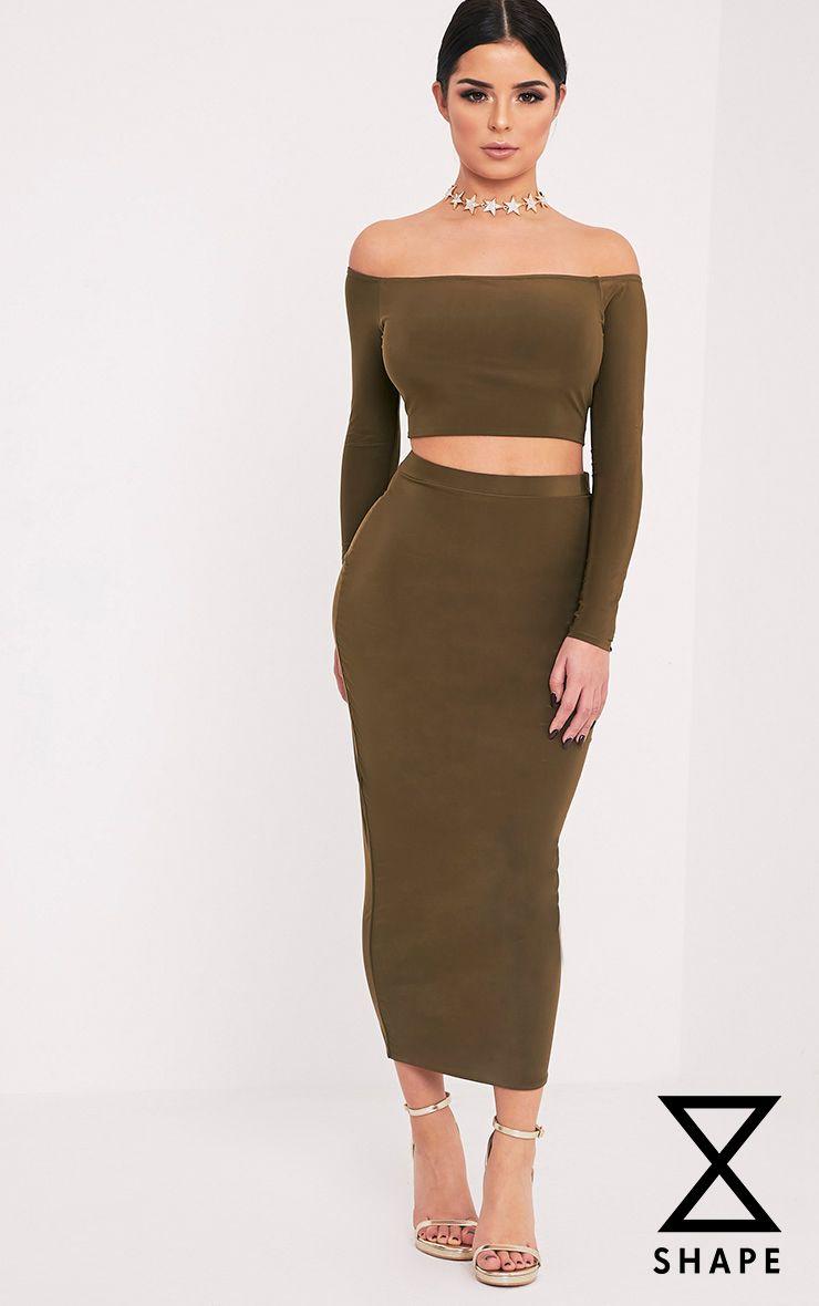Shape Amya Khaki Slinky Midi Skirt