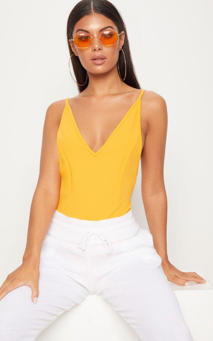 Mustard Crepe Plunge Bodysuit