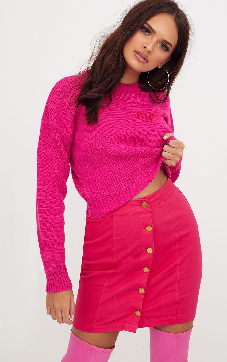 Bright Pink Cammie Denim Mini Skirt