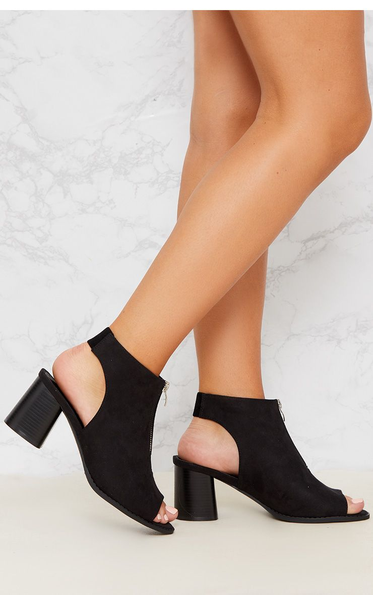 Black Faux Suede Zip Front Cut Out Ankle Boot