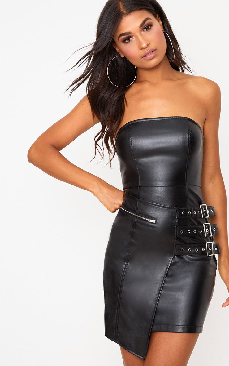 Black Faux Leather Buckle Detail Bandeau Bodycon Dress