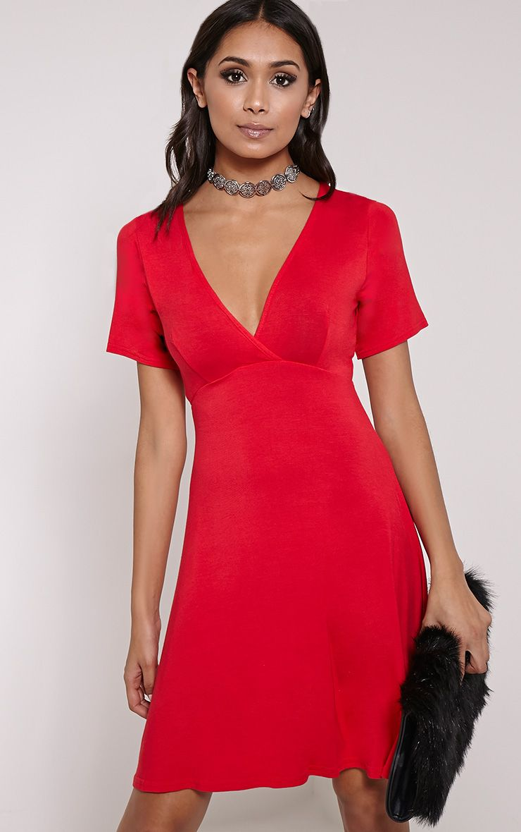 Basic Red Plunge Wrap Skater Dress 1