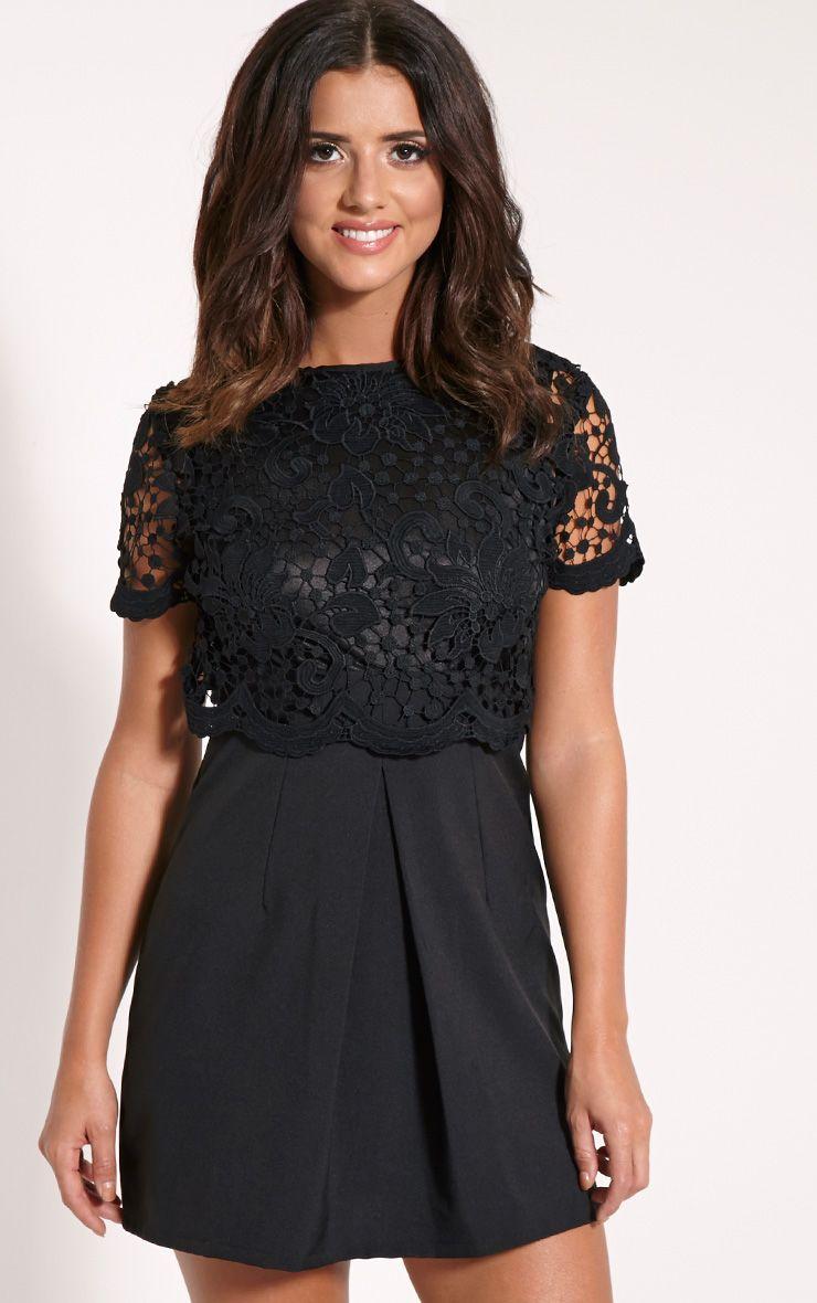 Felicia Black Crochet Lace Skater Dress 1