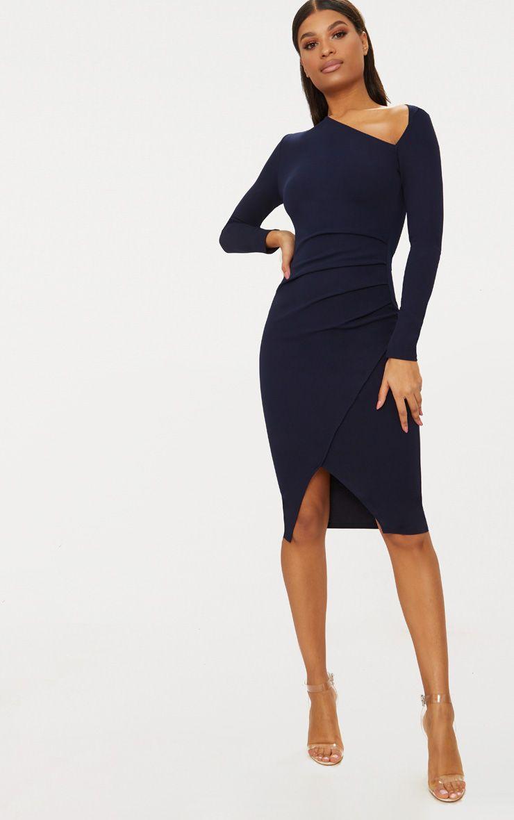 Navy Asymmetric Neck Pleated Wrap Midi Dress