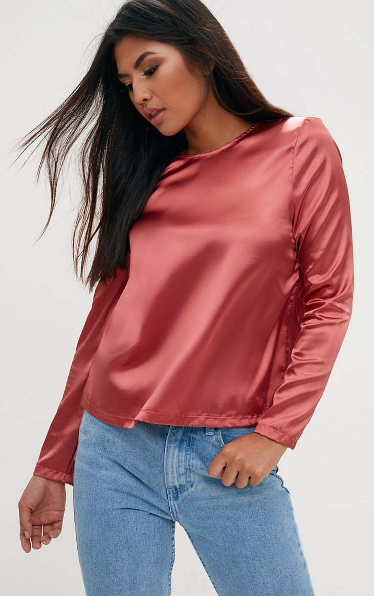Tobacco Satin Crew Neck Longsleeve Top
