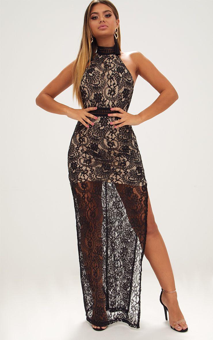 Black High Neck Lace Maxi Dress