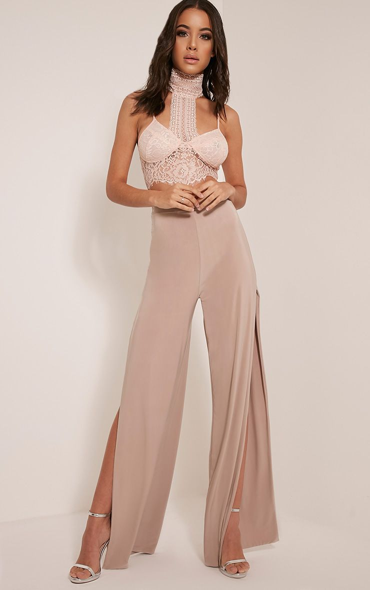 Darsee Nude Side Split Slinky Trousers
