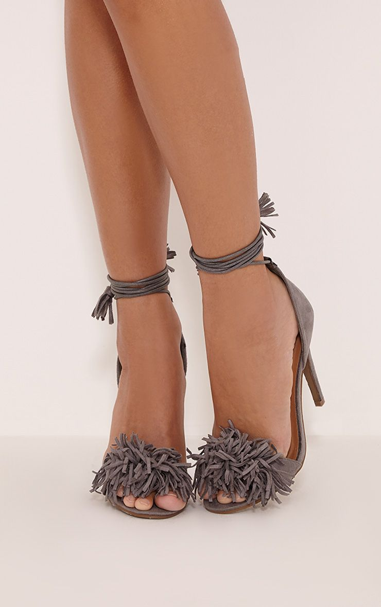 Bena Grey Faux Suede Fringe Sandals 1