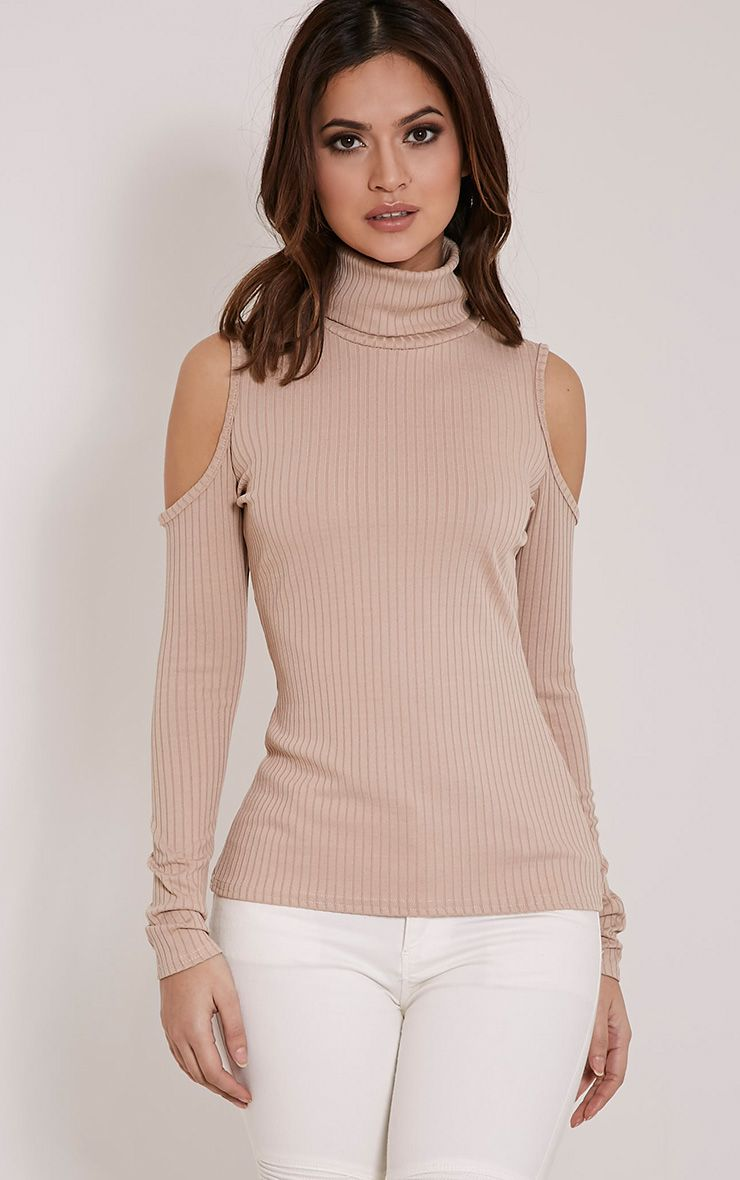 Valentina Stone Ribbed Cold Shoulder Roll Neck Top 1