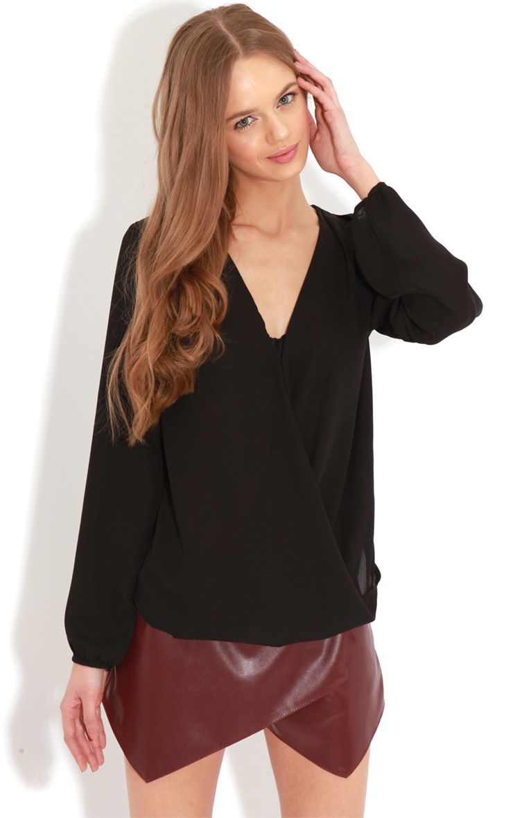 Kinley Black Wrap Over Chiffon Blouse 1
