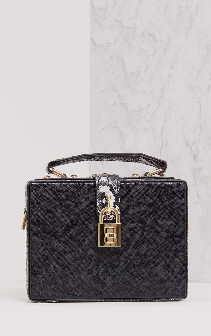 Zara Black Padlock Box Bag