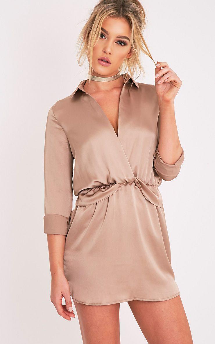 Katalea Mocha Twist Front Silky Shirt Dress