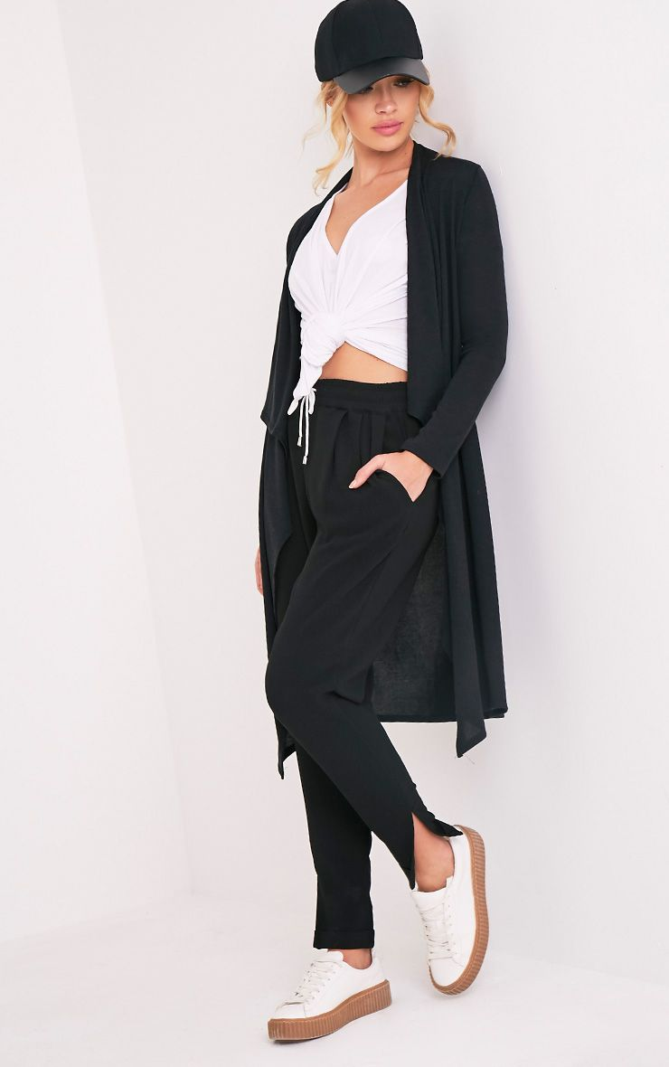 Eirlys Black Waterfall Midi Cardigan 1