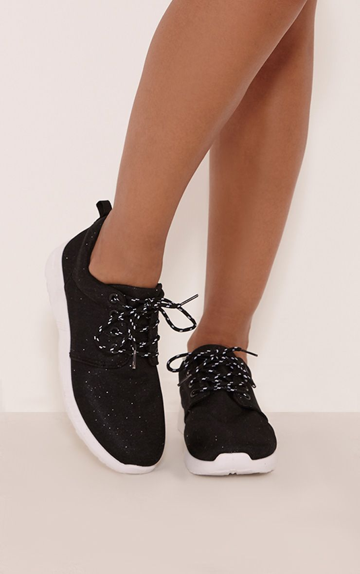 Louise Black Glitter Trainers 1