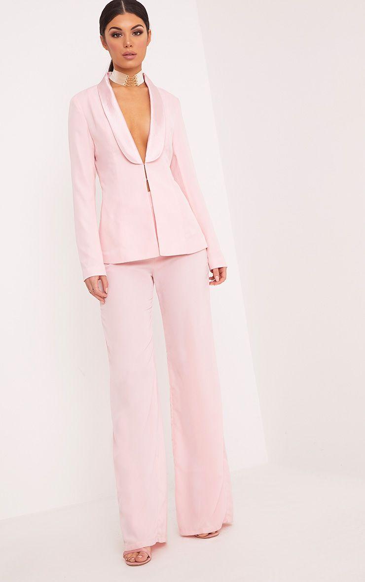 Elnie Baby Pink Satin Lapel Suit Jacket Coats Amp Jackets