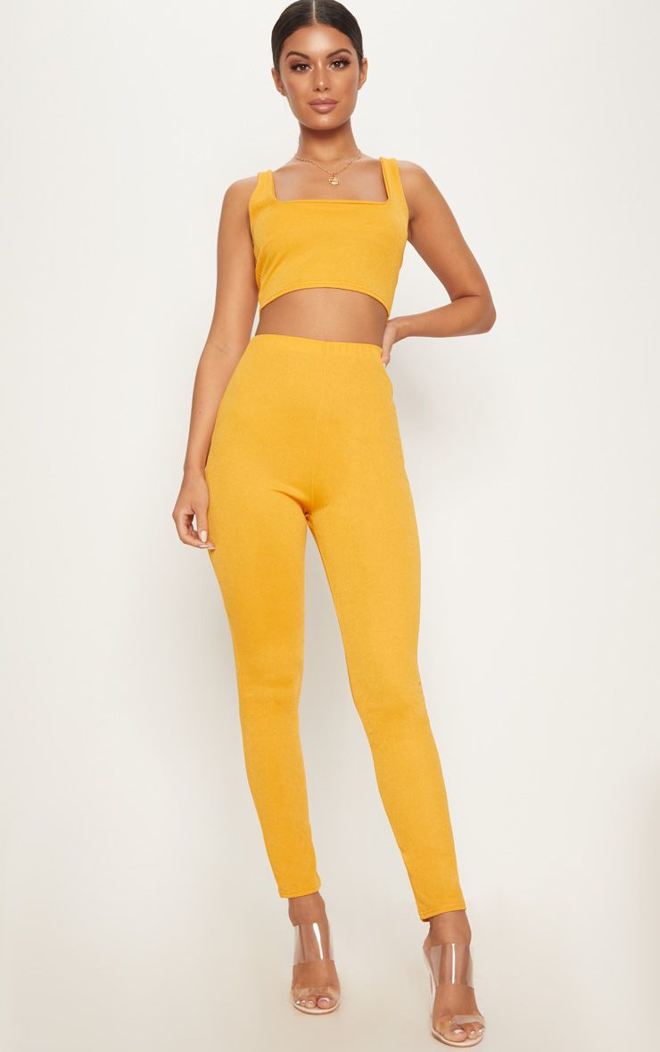 Mustard High Waisted Stretch Crepe Legging