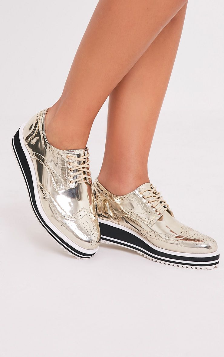 Irina Gold Metallic Platform Brogues