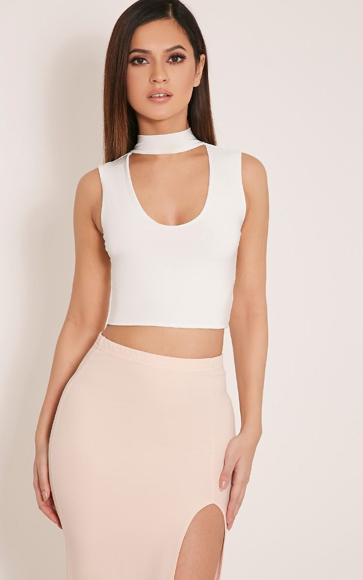 Melrose Cream Cut Out Neck Slinky Crop Top