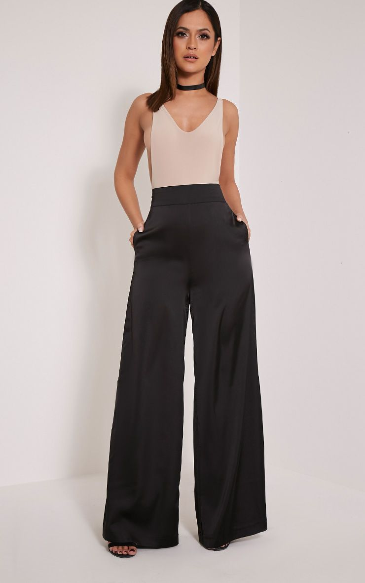 Ida Black Satin Palazzo Trousers 1